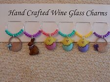 """""""EASTER"""" CHICKS AND BASKETS SET OF 6 HAND CRAFTED WINE GLASS CHARMS"""