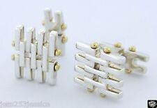 Tiffany & Co Sterling Silver 18K Gold Gatelink CuffLinks *Rare*MINT*