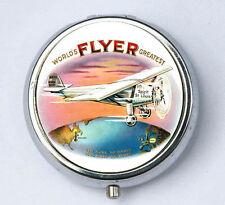 Flyer Plane PILL case pillbox pill box holder pilot aircraft vintage plane
