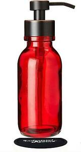 Industrial Rewind Red Wide Mouth Glass Soap Dispenser with Metal Pump and Non Sl