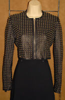 NOUR HAMMOUR - Black - Genuine LEATHER & Silver Studded Cropped MOTO Jacket sz 8