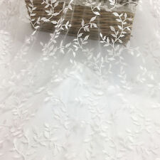 """1 Yard Leaf Embroidery Ivory Lace Fabric For Wedding Dress Tulle Fabric 51"""" Wide"""
