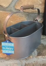 Garden Wine Caddy Tool Carrier Tote Wood Handle Turkish Stainless Steel 13x8x7