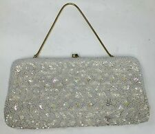 Vintage Evening Purse Clutch Wedding Bag Ivory Sparkle Seed Bead Sequin Sparkle