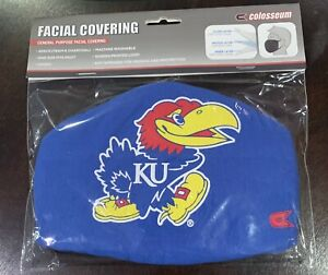 NCAA Colosseum Kansas Jayhawks 2-pack Face Mask Adult Unisex Unopened Brand New