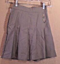 Girls Tan Sz 9J elastic waist wrap skort pleated side zip button detail uniform