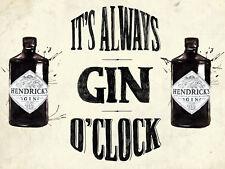 It's Always Gin o Clock Retro metal Sign vintage / Pub / Bar/ Kitchen