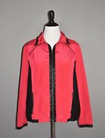 ZENERGY CHICO'S NEW $129 Red Full Zip Wind Jacket Faux Leather Trim 2 / Large
