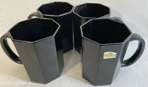 Vintage Arcoroc Black Octagon Coffee Cup Set of 4 Made in France Retro Mugs