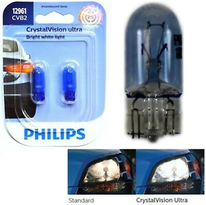 Philips Crystal Vision Ultra 12961 5W Two Bulbs Front Side Marker Stock Lamp T10