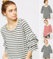 Women's Striped Ruffled 3/4 Sleeve Top T-Shirt Soft Stretch Knit Casual Loose