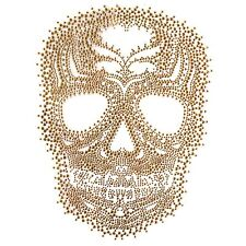 Rhinestone Iron On Transfer Hot fix Motif Fashion Design Gold Skull Tattoos