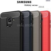 COVER per Samsung Galaxy A6/A6 PLUS 2018 CUSTODIA Morbida ORIGINALE CARBONIO