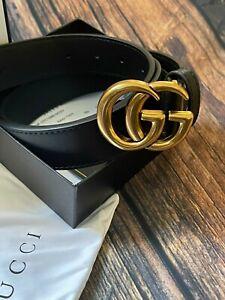 Gucci Double G Black Leather Gold Buckle Belt/105cm
