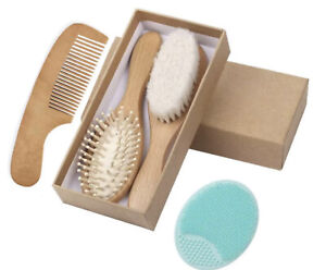 Dolson Baby Wooden Hair Brush Comb Set With Head Massager Kids Grooming Kit