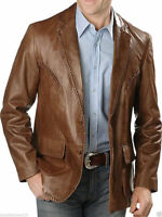 Brown Leather Blazer Men Pure Lambskin Coat Jacket 2 Button Size S M L XL XXL