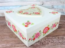 Large rose floral memory box shabby chic keepsake storage