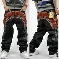 Men's Skate Baggy Loose embroidery Rap Hip Hop Jeans Denim Trousers Pants XSR4