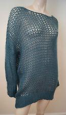 ERIKA CAVALLINI Blue Mohair Wool Blend Loose Knit Sheer Jumper Sweater Top SzL