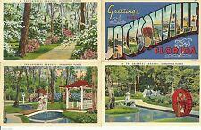 Jacksonville Florida 4 Postcard Lot Large Letter Linen Oriental Gardens Park FL