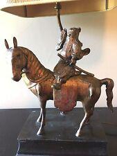 Vintage Samurai Soldier w/ Sword Horse Bronze? Metal Sculpture Table Lamp Works