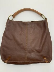 Lucky Brand Large Cognac Brown Hobo Whip Stitch Shoulder Bag Purse