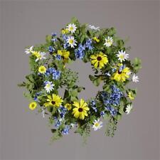 """Spring Blue Hydrangea, Black-Eyed Susans, White Daisies 20"""" Wreath"""