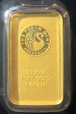 1 gram Gold Bullion Investment Bar Perth Mint Certified Australia 99.99% Fine