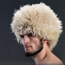 Papakha Russian caucasian headdress Khabib Nurmagomedov white fur hat fluffy