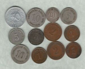 12 GERMAN EMPIRE 1874A TO 1921A IN FINE OR BETTER CONDITION.