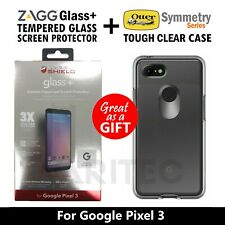 Zagg Glass Screen Protector + Otterbox Tough Clear Case Cover For Google Pixel 3