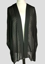 Loose Floaty Open Front Chiffon Jacket Long Throw Over Cardigan Black*Sizes 8-18