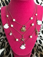 Betsey Johnson Vintage Nautical White Shell Clam Starfish Seahorse Gold Necklace