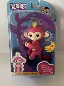 Fingerlings Interactive Baby Monkey Bella Finger Toy Pink Yellow Hair Kids NEW