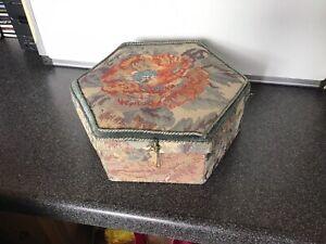vintage sewing box Hexagonal Green Material 28x10cm
