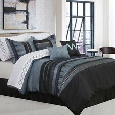 "New ""Alberts Geometric"" black gray blue Comforter Set - Full / double Size"