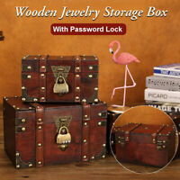 Wooden Jewelry Box With Password Lock Treasure Chest Storage Case Gifts 9*6''