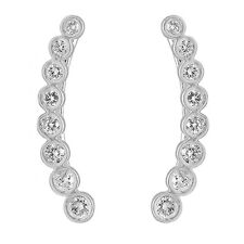 0.60 CT 14K White Gold Round Cut White Diamond Ladies Journey Climber Earrings