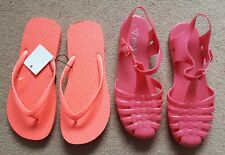 *BN* 1 Pair of orange flip flops and 1 pair of Plastic Jelly Sandals, Size 5 - 6