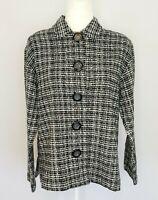 Chico's black & white knit jacket women's size 8 / Chico's Size 1