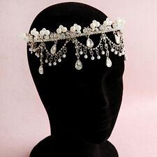 Wedding Bridal Crystal Pearl Queen Crown Headband Tiara Hair Accessories Jewelry