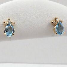 14K Gold 2ctw Teardrop BlueTopaz December Birthstone Diamond Stud Earrings 2gr