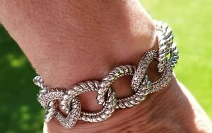 Judith Ripka Limited Edition  925 Sterling Silver Curb Link Bracelet Small