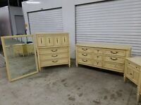 6 Pc Vtg WHITE FURNITURE COM. Campaign Style Bedroom Set Mid Century Mod YELLOW