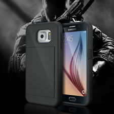 Samsung Galaxy S6 Double ID Card Holder Slot Wallet Stand Case Heavy Duty Cover