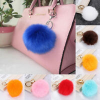 Large Rabbit Fox Fur Pom Fluffy Ball Handbag Purse Key chain Key Chain Ring