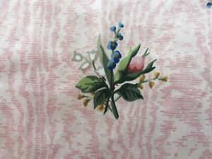 Vintage Roses Lily Valley Floral Moire Satinized Cotton Fabric #2 ~ Pink Blue