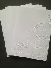 5 Blank A6 White Embossed Cards/Envelopes/Sleeves - Butterfly Scrolls