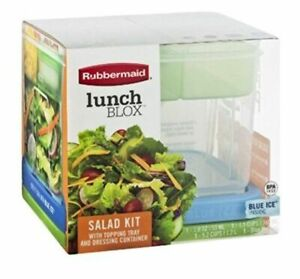 NEW RUBBERMAID Lunch Blox SALAD KIT w/ Blue Ice Topping Tray Dressing Container