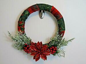 "Christmas  Wreath 19"" X 5"" Plaid Fabric Poinsettia Door Decoration Holly Berry's"